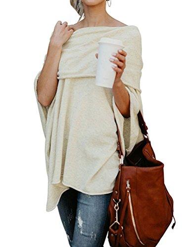 Shoulder Hem Shirt Women's Beige Tunic Long Blouse Off Fashion Asymmetry Nlife Sleeve qwAntX6Z