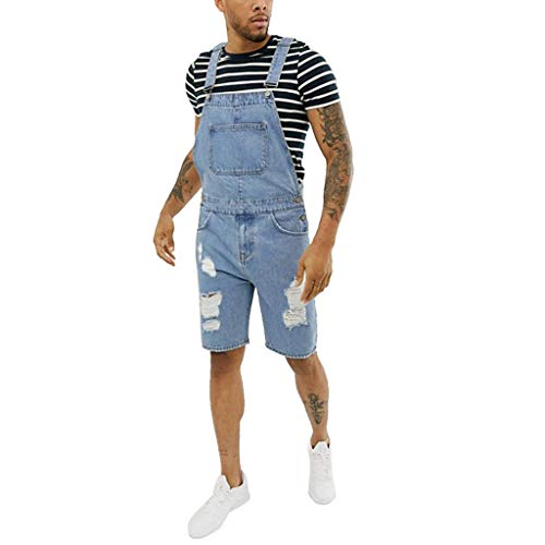 Overalls Shorts for Men,2019 New Summer Retro Denim Button Dungaree Jumpsuit Bib Short (L, Blue)