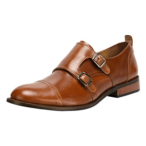 Liberty Men's Leather Double Buckle Monk Strap Cap-Toe Dress Shoes (Double Buckle Ankle Strap)