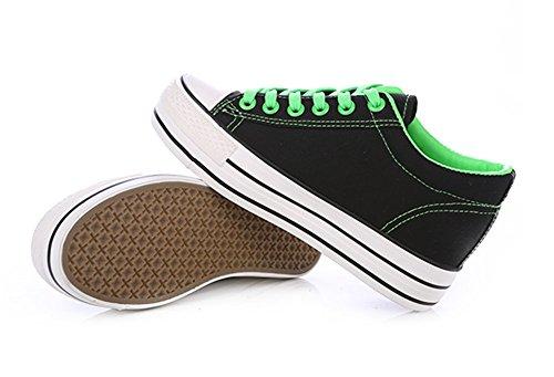 Aisun Damen Basic Canvas Unsichtbar Erhöht Low Top Schnürsenkel Fashion Sneakers Schwarz(Grün)