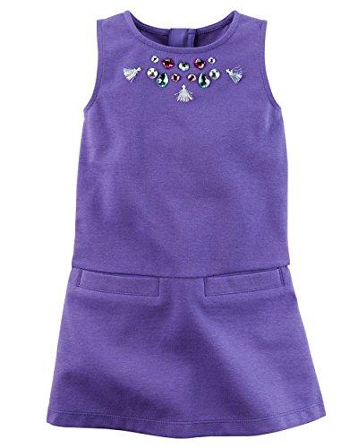 Carter's Little Girls Rhinestone Embellished Ponte Shift Dress (3T, Heather Purple)