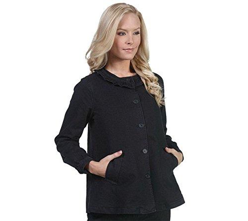 Isaac Mizrahi Fashionable Flirty Denim Ruffle Neck Jacket Black XXS New A213270 (Ruffle Jacket Neck)