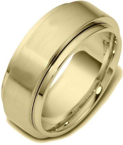 (18 Karat 9mm Yellow Gold Designer SPINNING Wedding Band Ring - 575)