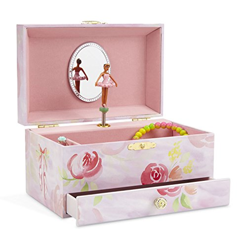 JewelKeeper Girl's Musical Jewelry Storage Box with Pullout Drawer, Ballerina and Roses Design, Swan Lake Tune