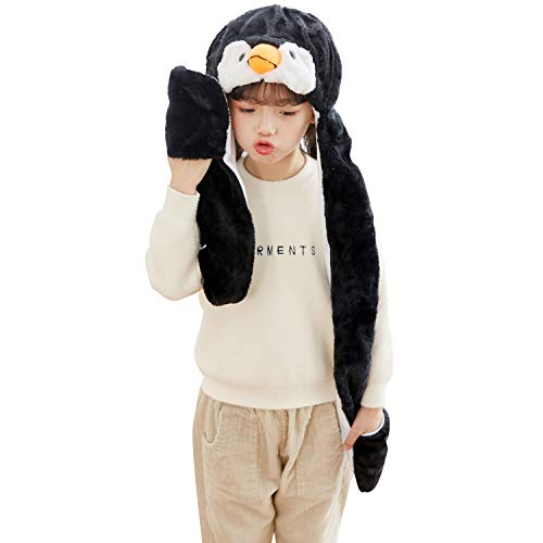 PULAMA Varied Animal Hats Gloves Scarf 3 in 1 Set -Costume Hood Toy (Penguin)]()