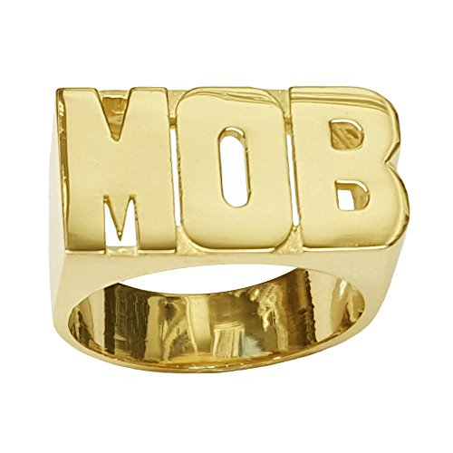Lee082-10y 10K Yellow Gold Large Block Letter Plain Name Ring (10) 10k Personalized Name Ring