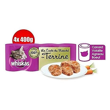 Gatos Whiskas cajas para gato en tarrina la tarjeta del Mercado 4 x 400g - (precio unitario) - envío rápido y entrecruzado: Amazon.es: Productos para ...