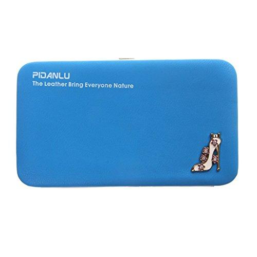 Sharplace Donna Moda Lungo Pu Borsa Portafoglio Della Moneta Cellulare Sacchetto Portamonete Multicolore - Blu, Taglia unica