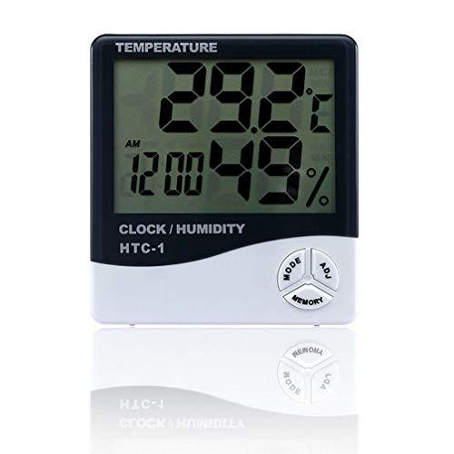 Pastel Digital Alarm Clock PVC LCD Temperature Humidity Meter 10.6 x 9.8 x 2.4cm Indoor ()