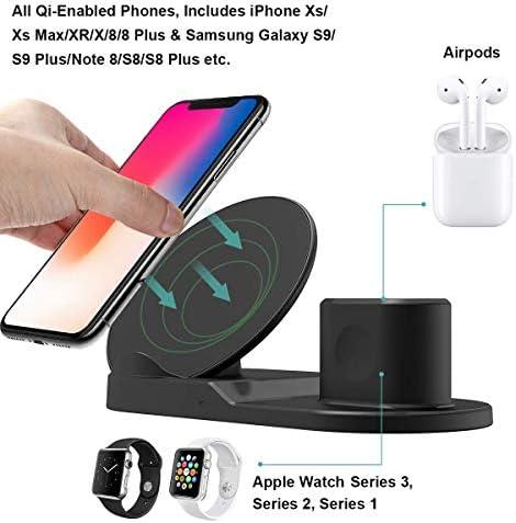 YLJYJ 3 in 1 Qi Caricatore Wireless, Supporto di Ricarica Stazione di Ricarica per iWatch Series 3/2/1, iPhone XS/XR/X/8, Samsung Galaxy S9/S8 Note 8 & Dispositivi abilitati al Qi