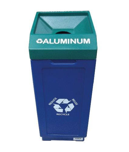 Forte Products 8002480 Open Top Plastic Recycle Bin with Aluminum Graphic, 14.5