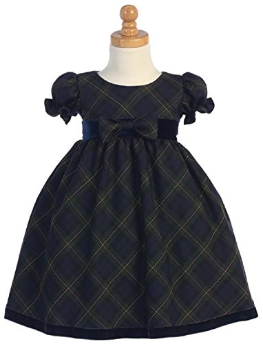 Lito Girls Plaid Holiday Dress with Velvet Trim (6 - 12 months, -