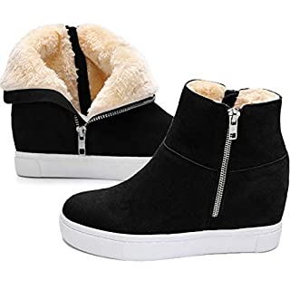 Athlefit Women's Fur Wedge Sneakers Hidden Wedge Boots with Fur Lined Wedge Sneakers Size 8 Black