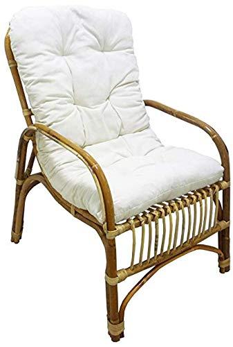Sedie In Vimini Da Giardino.Poltrona Sedia Manao In Vimini Bambu Rattan Naturale Con Cuscino Per Casa Salotto