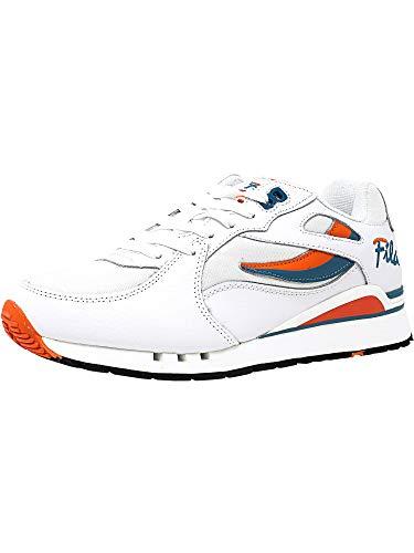 Fila Men's Overpass Fashion Sneaker, White/Red Orange, 9.5 M