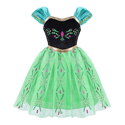 dPois Infant Baby Girls' Sweetheart Princess Dress Birthday Halloween Cosplay Party Fancy Costume (4-5, Green) -