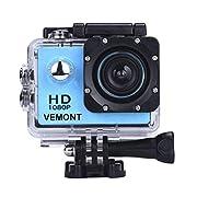 VEMONT 1080p 12MP Action Kamera Full HD 2,0 Zoll Bildschirm 30m/98 Fuß wasserdichte Sports Kamera mit Zubehör Kits für…