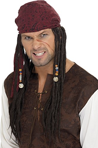 Smiffy's Men's Pirate Wig and Scarf with Plaits, Multi, One (Hook Wig)