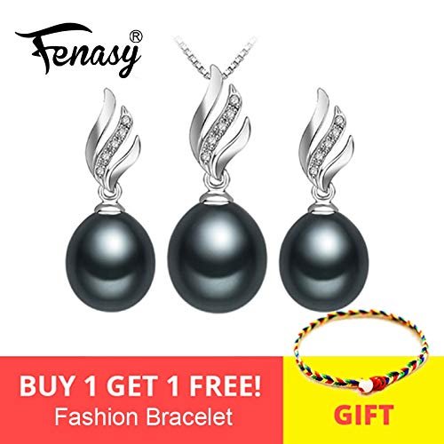 Nice Natural Pearl Jewelry Sets 925 Sterling Silver Pendant Necklace Women - pearl Earrings Earrings Fine Jewelry - wedding - White 45cm