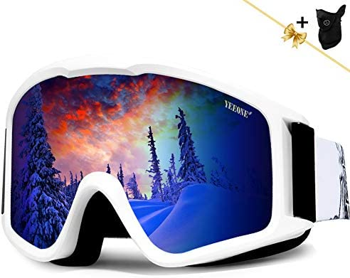 YEEONE Ski Goggles, Snowboard Goggles Fit Over Glasses, Anti Fog UV Protection Skating Goggles OTG Windproof Dual Lens Snow Skiing Goggles for Men Women Youth