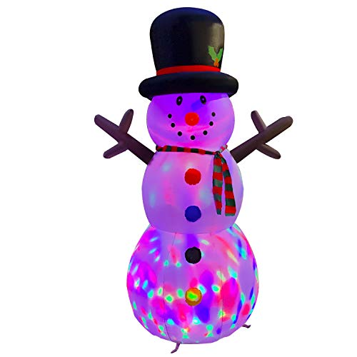 BESTPARTY 8ft Giant Christmas Inflatable Snowman with Magic Hat, Changing Color Lights Blow up Branch Snowman Holiday Outdoor Yard Decorations