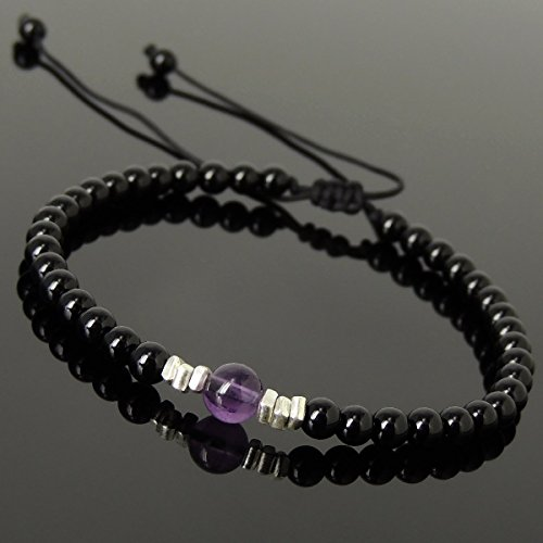 Onyx Nugget (Men and Women Adjustable Braided Drawstring Bracelet Handmade with 4mm Black Onyx, 6mm Natural Amethyst & Genuine 925 Sterling Silver Nugget Beads from Thailand)