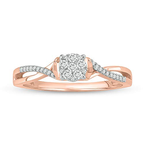 (Jewel Monk 10K Rose Gold 1/6 Carat Round-Cut (I-J Color, I2-I3 Clarity) Natural Diamond Promise Ring for Women, US Size 7)