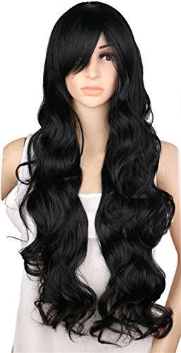 Wigs Long Curly Cosplay Wig Costume Party Red Blonde 70Cm High Temperature Synthetic Hair Wigs,Natural Black,28