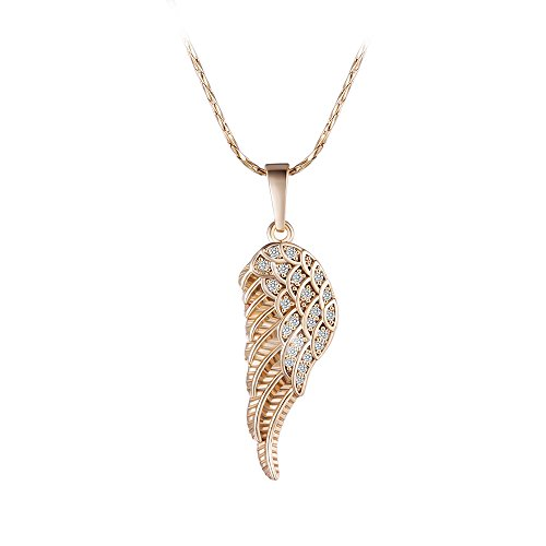 XUPING Fahsion Angel Wings Shape Pendant Jewelry with Box Women Girl Easter Day Gifts (18k gold color ()