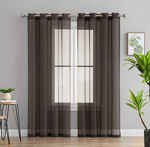 HLC.ME 2 Piece Semi Sheer Voile Window Drapery Curtain Grommet Panels for Bedroom & Living Room (54