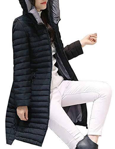 security Women's Slim Packable Hoodie Windproof Warm Down Jacket Black