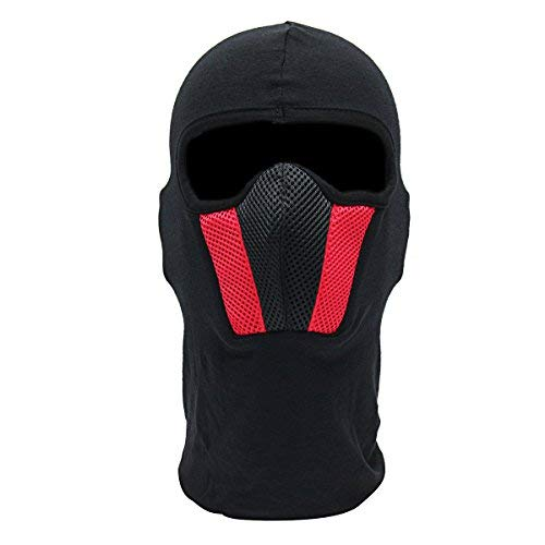 (Motorcycle Face Mask - Motorcycle Mask Outdoor Helmet Ski Sport Neck Hood Black Red Gray - Look Out Over Human Font Utile Grimace Masquerade Facial Expression Block Aspect Boldness Brass - 1PCs)