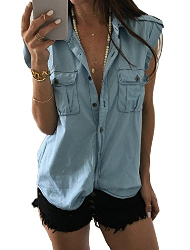 Dizoo Fisy Women's Denim Shirt Summer Sexy Sleeveless Button Down Jean Shirts Tank Top with Pocket Light Blue