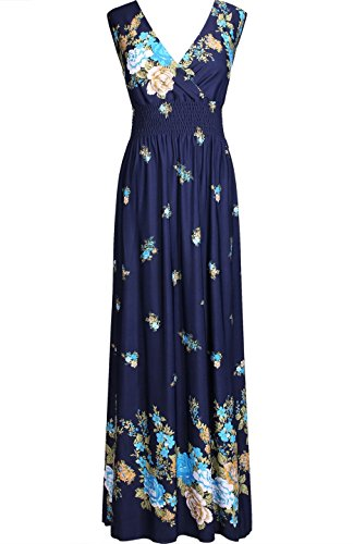 - 2LUV Women's Sleeveless Floral Empire Smocked Waist Summer Maxi Resort Dress Navy M