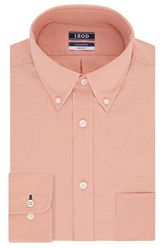 IZOD Men's Dress Shirts Regular Fit Stretch Gingham, Peach, 15