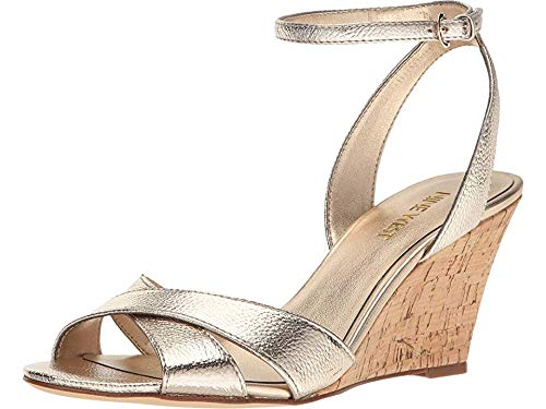 Nine West Women's Kami Metallic Wedge Sandal, Gold, 11 M US (Gold Sandals Size 11)