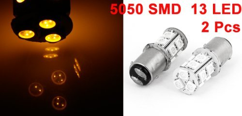 Amazon.com: eDealMax 2 x 1157 Yellow 13 LED 5050 SMD Freno de marcha atrás bombilla de señal Para el coche: Automotive