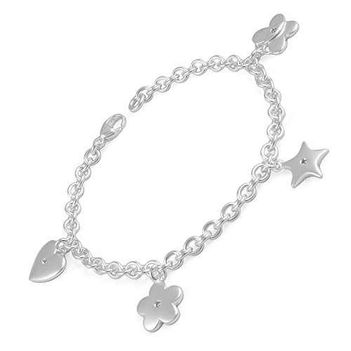 Children's Silver Diamond Heart Star Flower Butterfly Charms Bracelet (6 1/2 in) by Loveivy