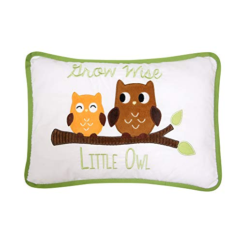 Lambs & Ivy Woodland Tales Grow Wise Little Owl Decorative Pillow, Green/Brown by Lambs & Ivy
