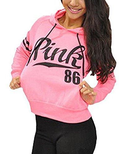 TuiFallen Womens Chic Drawstring Long Sleeve Hooded Sweatshirt Pink X-Large Pink Hoodie