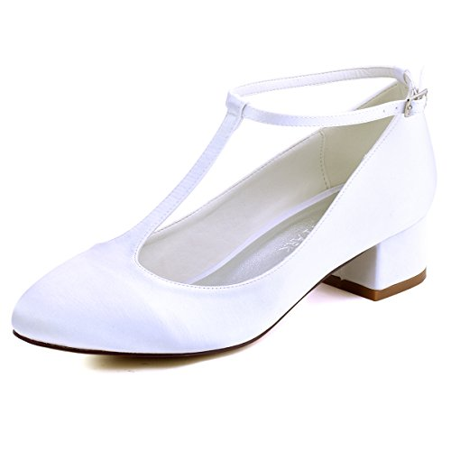 ElegantPark FC1616 Women Closed Toe Chunky Heel T-Strap Pumps Satin Wedding Bridal Shoes White US 4 ()