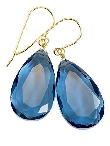 14k Yellow Gold Filled London Blue Simulated Topaz Earrings Faceted Large Pear Teardrops Simple Briolette Dangle Drops