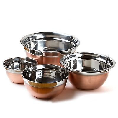 NEW Prime Pacific Stainless Steel Euro Style Bowl with Copper Finish (Set of 4)