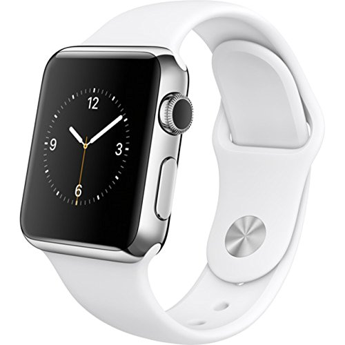 Apple Watch  38Mm  Stainless Steel Case With White Sport Band  Certified Refurbished
