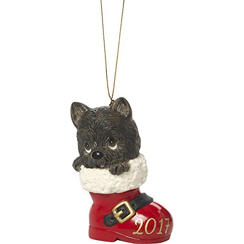 Hand Painted Bisque Porcelain - Precious Moments Have A Pawsitively Soleful Christmas Dog In Boot  Dated 2017 Bisque Porcelain Ornament 171008