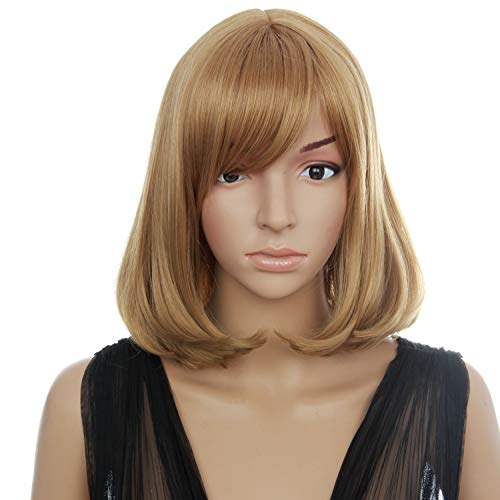 (RMDOLL Wigs 13inches Fashion Brwon Wigs Short Bob Hair Shoulder Hair Side Parting Curtained Hair Wigs with Cap For Women)
