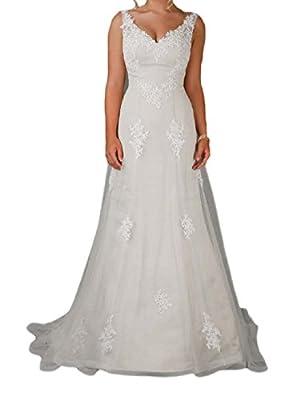 OYISHA Women's Lace V-Neck Sheath Wedding Dress Gown with Sweep Train WD019