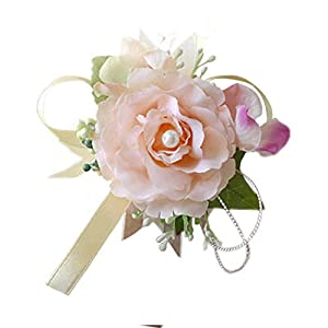 Arlai Set of 2,Wrist Corsage Wristband Roses Wrist Corsage for Prom, Party, Wedding Champagne 48