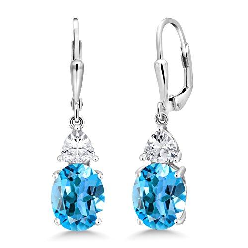 - Gem Stone King 5.40 Ct Oval Swiss Blue Topaz 925 Sterling Silver Dangle Earrings