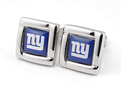 aminco NFL New York Giants Logo Square Cufflinks with Gift Box Set, One Size, Silver